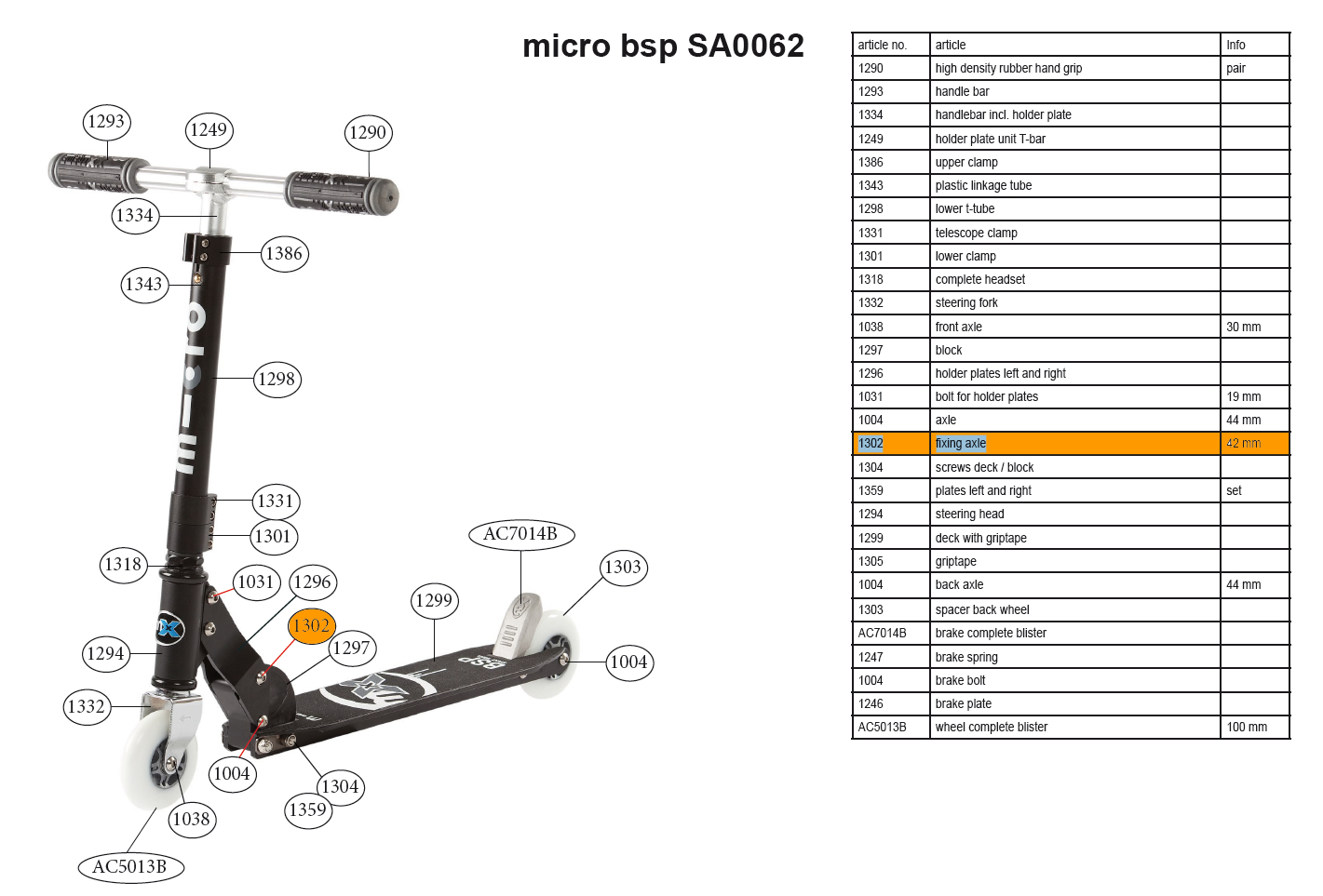 Micro - Axe de montage 42mm